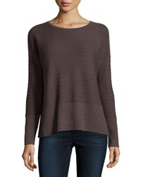 Lafayette 148 New York Ribbed Cashmere Blend Sweater Granite