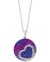 Effy Collection Watercolors By Effy Sapphire 3 1 10 Ct. T.W. And Diamond 1 8 Ct. T.W. Pave Heart Disc Pendant Necklace In 14K White Gold Multi