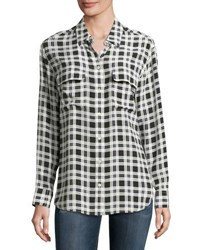 Equipment Signature Plaid Long Sleeve Silk Shirt Nature White Multi