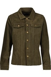Current Elliott The Mechanic Suede Jacket Army Green