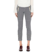 Chloe Slim Fit Cropped Pinstripe Jeans Navy And White