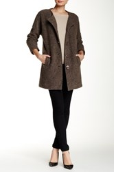 Luma Front Button Wool Blend Coat Brown