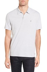 John Varvatos Men's Star Usa Peace Stripe Soft Collar Polo Light Grey