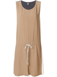 Lorena Antoniazzi Colour Block Drawstring Waist Dress Nude And Neutrals