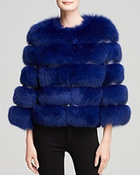 Maximilian Fox Fur Jacket With Leather Inserts Blue