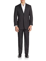 Versace Regular Fit Wool Suit Black Stripe