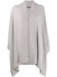 N.Peal Cashmere Diagonal Ribbed Cape Grey