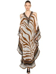 Roberto Cavalli Open Shoulder Silk Chiffon Caftan Dress White Camel