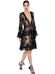 Alberta Ferretti Fringed Tulle And Macrame Lace Dress