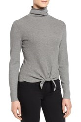 Nic Zoe All Tied Up Turtleneck Top Gray