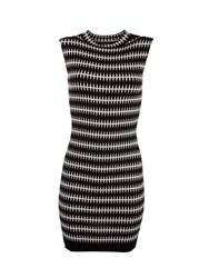 Morgan Patterned Sleeveless Knitted Shift Dress Black