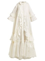 Gucci Ruffle Trimmed Cotton Poplin Gown Ivory