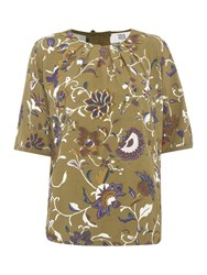 Noa Noa Blouse With Short Sleeve And Retro Flower Pattern Green