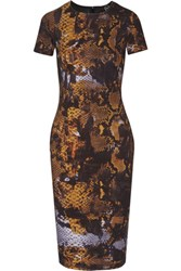 Mcq By Alexander Mcqueen Printed Stretch Cotton Dress Orange