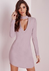 Missguided Crepe Curve Hem Cut Out Bodycon Dress Mauve Mauve