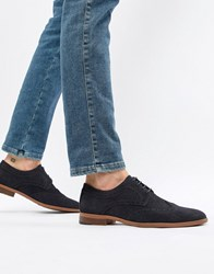 New Look Faux Suede Brogue In Navy