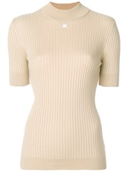 Courreges Ribbed Knitted Top Cotton Cashmere Nude Neutrals