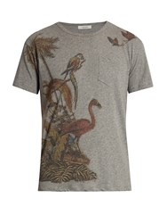 Valentino Animal Print Cotton T Shirt Grey Multi