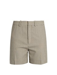 Chloe Striped Stretch Wool Blend Shorts Blue Stripe