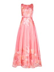 Tahari By Arthur S. Levine Asl Feminine Organza Floral Gown Pink