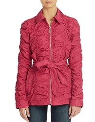 Betsey Johnson Crinkle Zip Front Jacket Berry