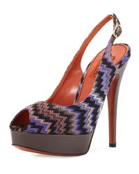 Missoni Zigzag Slingback Peep Toe Pump Purple