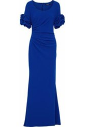 Badgley Mischka Ruffle Trimmed Ruched Crepe Gown Cobalt Blue