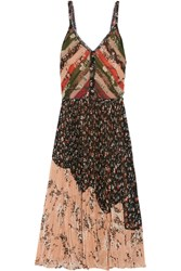 Jason Wu Pleated Printed Crinkled Chiffon Dress Black