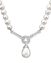 Macy's 14K White Gold Necklace Cultured Freshwater Pearl And Diamond 1 3 Ct. T.W. Necklace Black