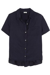 Clu Ruched Silk And Cotton Blend Shirt Blue