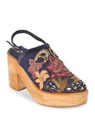Free People Beaded Floral Embroidered Wooden Platform Clogs Navy Blue