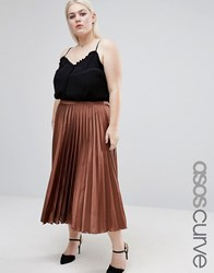 Asos Curve Midi Skirt In Pleated Satin Chocolate Brown