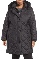 Larry Levine Plus Size Women's Faux Fur Trim Long Quilted Coat With Inset Bib