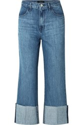 J Brand Joan Cropped High Rise Flared Jeans Mid Denim