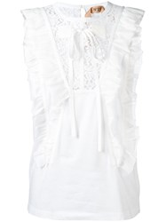 N 21 No21 Ruffle Trim Tank White