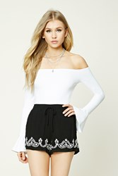 Forever 21 Embroidered Woven Shorts Black Cream