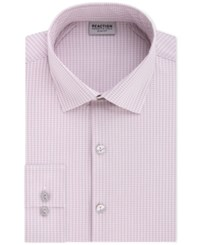 Kenneth Cole Reaction Techni Slim Fit Flex Collar Three Way Stretch Performance Pink Check Dress Shirt Rose Quartz