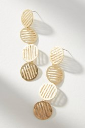 Anthropologie Striped Circle Drop Earrings Gold