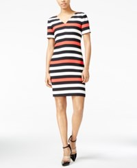 Armani Exchange Striped V Neck Dress Snow Bittersweet