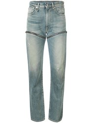 R 13 R13 Zip Detail Fitted Jeans Blue