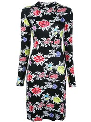 House Of Holland Rose Pattern Fitted Dress Black