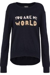 Markus Lupfer Sequin Embellished Cotton Sweater Midnight Blue