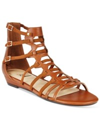 Impo Abella Gladiator Wedge Sandals Women's Shoes Cognac