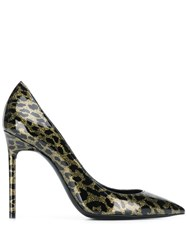 Saint Laurent Leopard Anja Pumps Black