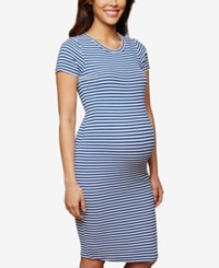 Motherhood Maternity Rib Knit Sheath Dress Cobalt White Stripe