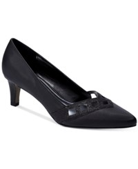 Easy Street Shoes Valiant Evening Pumps Women's Black Satin
