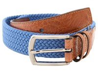 Torino Leather Co. 32Mm Italian Woven Multi Cotton Elastic Royal Men's Belts Navy