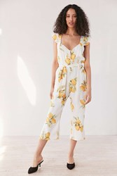 For Love And Lemons Limonada Tie Front Jumpsuit Yellow