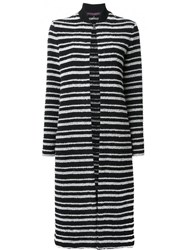 Martin Grant Striped Cardi Coat Black