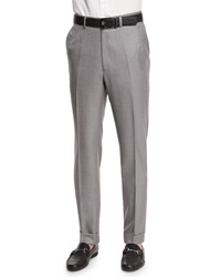 Brioni Flat Front Twill Trousers Light Gray Men's Light Grey